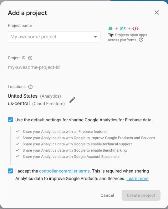Firebase - Add Project