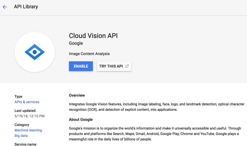 Vision API Enable